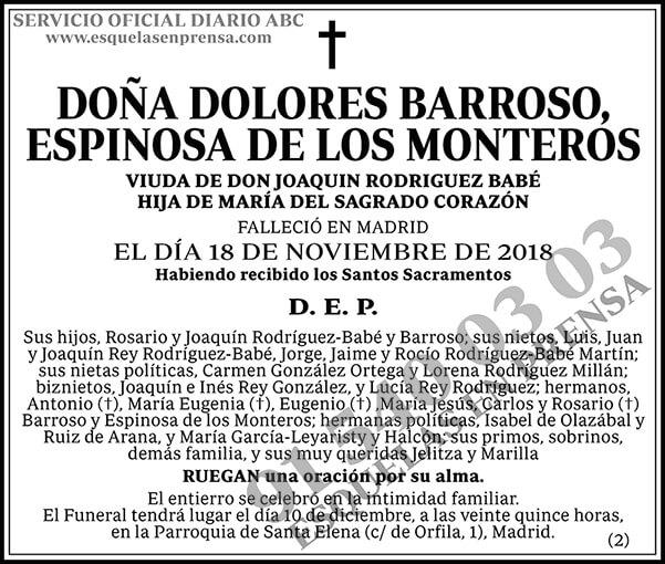 Dolores Barroso, Espinosa de los Monteros